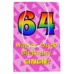 [ Thumbnail: 64th Birthday: Fun Pink Hearts Stripes; Rainbow 64 Gift Bag ]