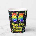 [ Thumbnail: 64th Birthday: Fun Stars Pattern and Rainbow 64 ]