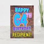 [ Thumbnail: 64th Birthday - Fun, Urban Graffiti Inspired Look Card ]