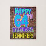 [ Thumbnail: 64th Birthday ~ Fun, Urban Graffiti Inspired Look Jigsaw Puzzle ]