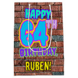 [ Thumbnail: 64th Birthday: Fun, Urban Graffiti Inspired Look Gift Bag ]