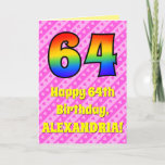 [ Thumbnail: 64th Birthday: Pink Stripes & Hearts, Rainbow # 64 Card ]