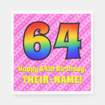 [ Thumbnail: 64th Birthday: Pink Stripes & Hearts, Rainbow # 64 Napkins ]