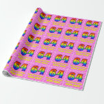 [ Thumbnail: 64th Birthday: Pink Stripes & Hearts, Rainbow # 64 Wrapping Paper ]