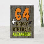 [ Thumbnail: 64th Birthday: Spooky Halloween Theme, Custom Name Card ]