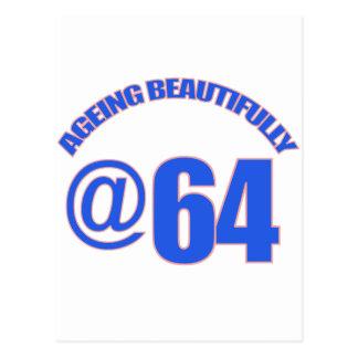64th year old designs postcard