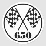 650 Checkered Flags Classic Round Sticker