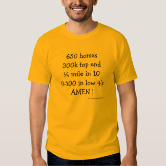 650 HORSES, 300K TOP END, 1/4 MILE IN 10, 0-100 IN TEE SHIRTS