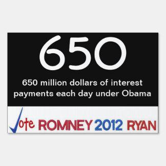 650 millones en muestra de la yarda de los pagos d letreros