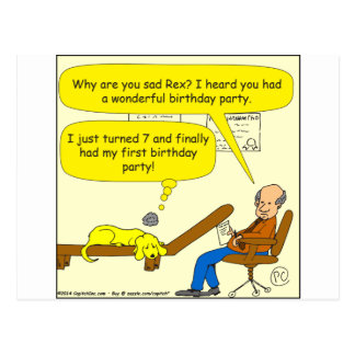 655 first birthday party cartoon postcard