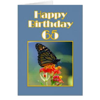 65.a mariposa de monarca feliz del cumpleaños tarjeta de felicitación
