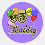 65.a mercancía feliz del cumpleaños pegatina redonda