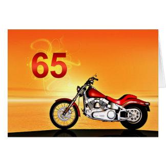 65.a puesta del sol de la motocicleta del tarjeta de felicitación