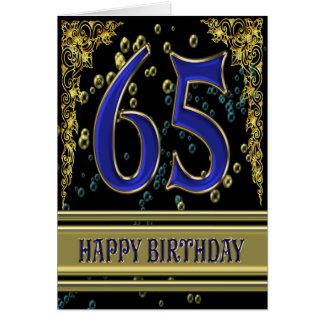 65.a tarjeta de cumpleaños con oro y burbujas