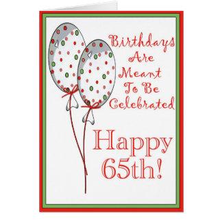 65 a tarjeta de cumpleaños feliz