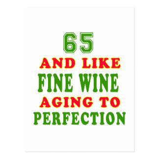 65 and like fine wine birthday designs postcard