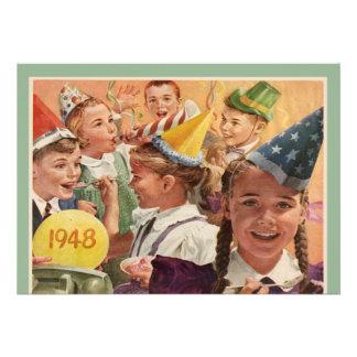 65 as memorias retras 1948 de la niñez de la fiest invitación