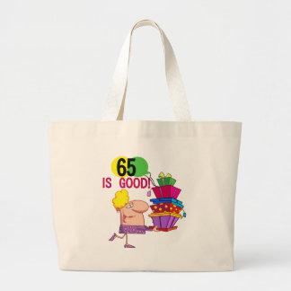 65 es buenos camisetas y regalos del cumpleaños bolsa tela grande