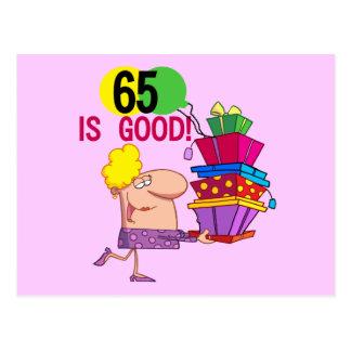 65 es buenos camisetas y regalos del cumpleaños postal