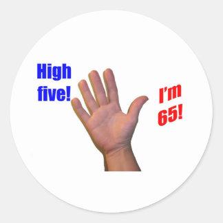 65 High Five! Classic Round Sticker