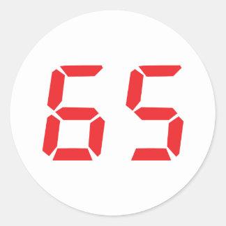 65 número digital del despertador de sesenta y pegatina redonda