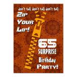 65.o Cremallera del cumpleaños de la sorpresa su Invitación 12,7 X 17,8 Cm