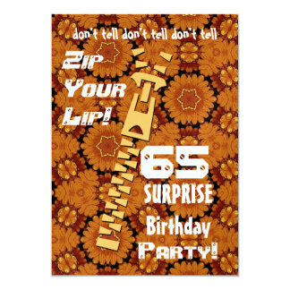 """65.o Cremallera del cumpleaños de la sorpresa su Invitación 5"""" X 7"""""""