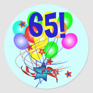 ¡65! O cualquier cumpleaños de la edad hincha Pegatina Redonda