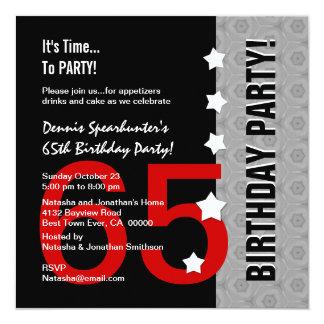 "65.o Cumpleaños D845D1 divertido negro de plata Invitación 5.25"" X 5.25"""