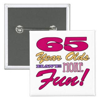 65.o cumpleaños de la diversión pin cuadrado