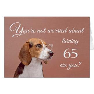 65.o cumpleaños feliz, beagle preocupante tarjeta de felicitación
