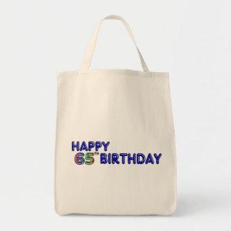 65.o cumpleaños feliz en fuente del globo bolsa tela para la compra