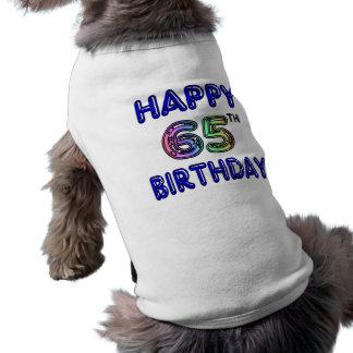 65.o cumpleaños feliz en fuente del globo playera sin mangas para perro