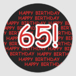 65.o cumpleaños feliz etiqueta redonda