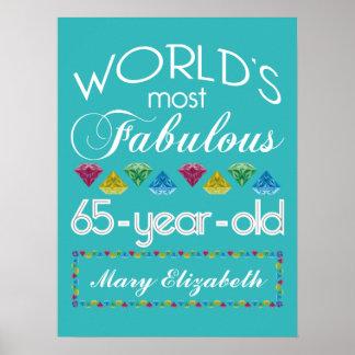 65.o Cumpleaños la mayoría de las gemas coloridas Póster