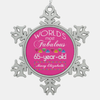 65.o Cumpleaños la mayoría del rosa colorido Adorno De Peltre En Forma De Copo De Nieve