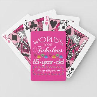 65.o Cumpleaños la mayoría del rosa colorido Baraja