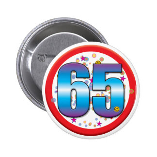 65.o Cumpleaños v2 Pin Redondo De 2 Pulgadas