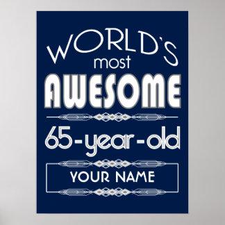 65.o Del cumpleaños de los mundos azul marino Póster