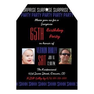 """65.o Fiesta de cumpleaños de la sorpresa para los Invitación 5"""" X 7"""""""