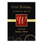 65.o Fiesta de sorpresa del cumpleaños - monograma Comunicados Personalizados