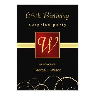 """65.o Fiesta de sorpresa del cumpleaños - monograma Invitación 5"""" X 7"""""""