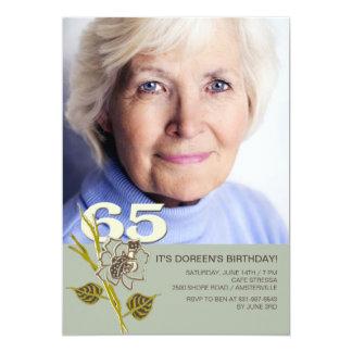 65.o Invitación de la foto del cumpleaños