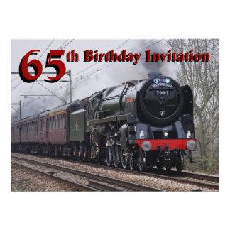 65 o Invitación del tren del vapor del cumpleaños