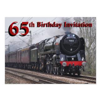 65.o Invitación del tren del vapor del cumpleaños Invitación 13,9 X 19,0 Cm