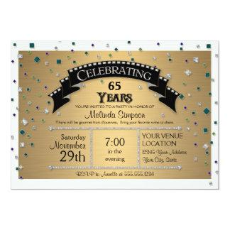 """65.o La fiesta de cumpleaños celebra falso confeti Invitación 5"""" X 7"""""""