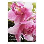 65.o Mamá del aniversario de boda y orquídeas rosa Tarjetas