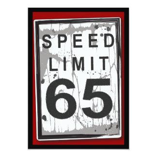 65.o Muestra sucia del límite de velocidad de la Invitación 12,7 X 17,8 Cm