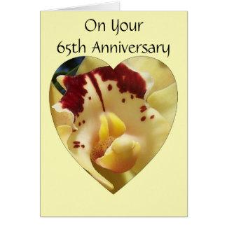 65.o Orquídea del amarillo del aniversario de boda Tarjeta De Felicitación