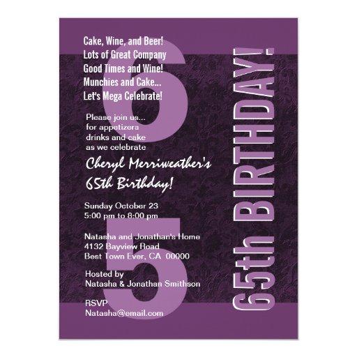 65.o Púrpura moderna de la fiesta de cumpleaños Anuncio Personalizado